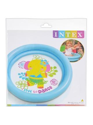 Бассейн Intex  59409 круглый, детский, 61-15см,2 кольца,1-3 года,рем компл,2 вида,в кульке,25-25-3см