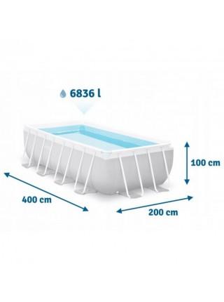 Бассейн каркасный Intex 26788, 400х200х100 см лестница ,фильтр-насос