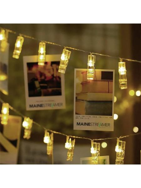"""LED гирлянда """"прищепки"""" на 12 лампочек, 5 метров"""