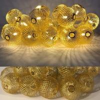 Гирлянда шарик золотой 20LED белый теплый