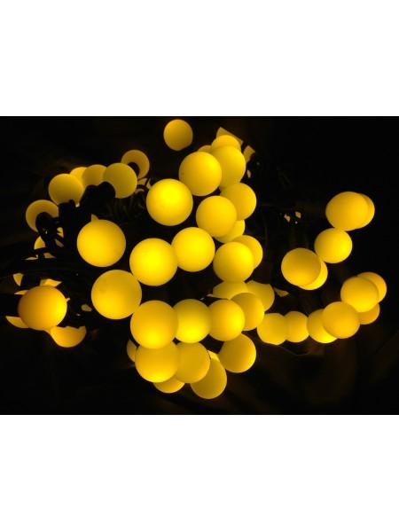 Новогодняя гирлянда Шарик 20 лампочек, на черном кабеле, цветная